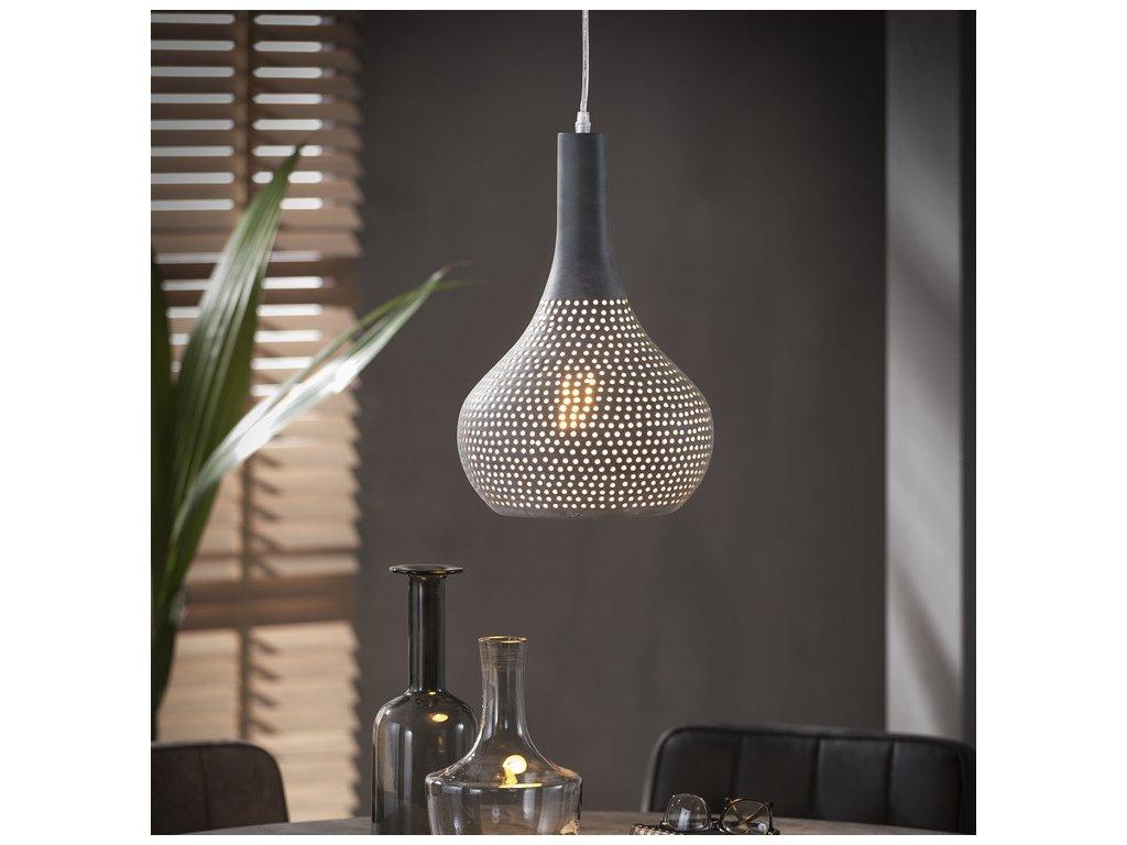 závěsná lampa 25cm perforovaný kužel