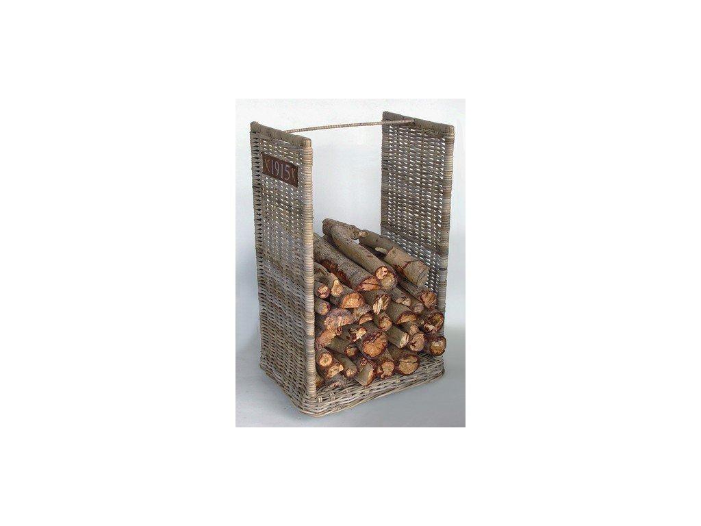 ratanový zásobník na dřevo na kolečkách