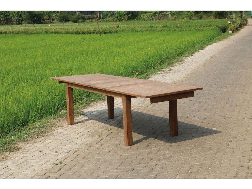 teakový stůl DENGKLEH roztahovací ve středu