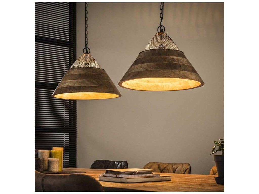 závěsná lampa 2 x dia 40cm; mango + kov