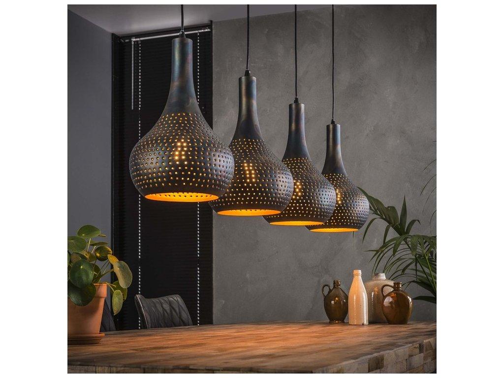 závěsná lampa 4x25cm; perforované kužely