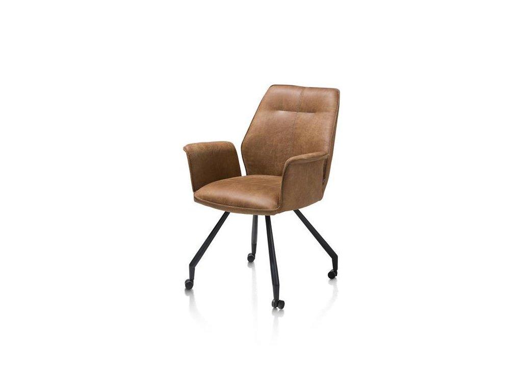 čalouněná židle JOHN s područkama na kolečkách -koňaková