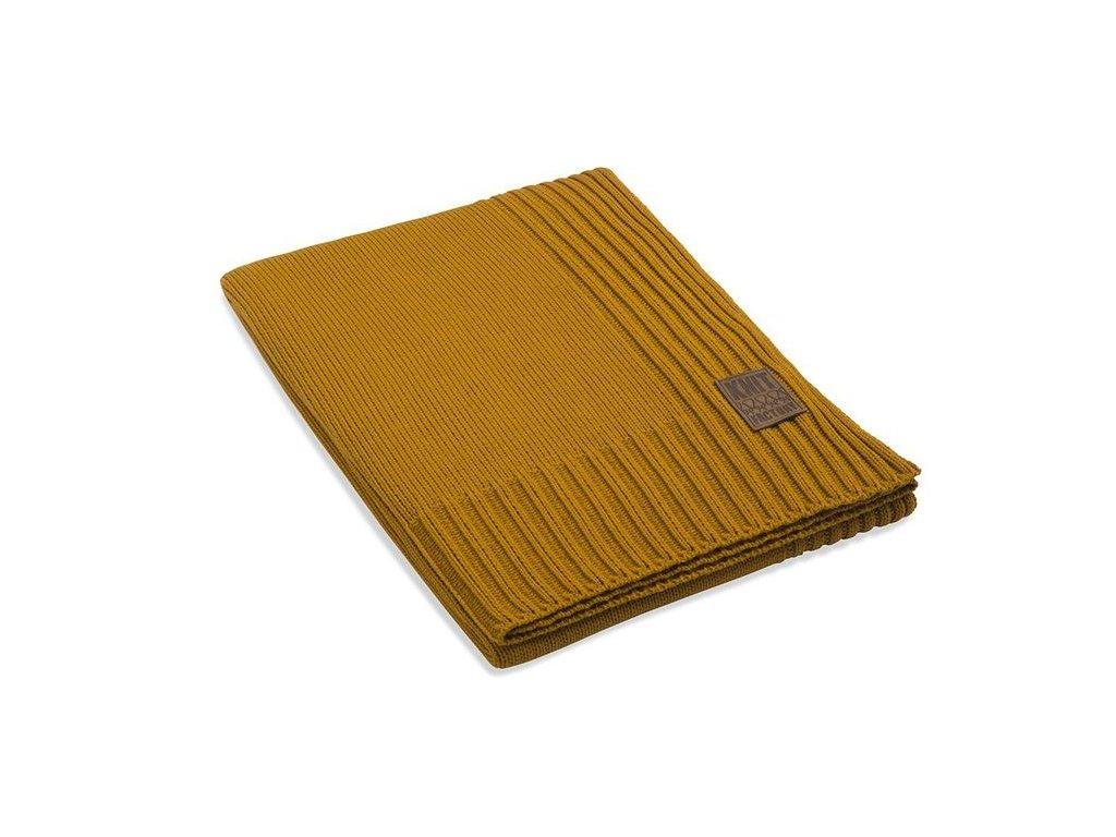 Pletený přehoz Uni 160x130 cm okr