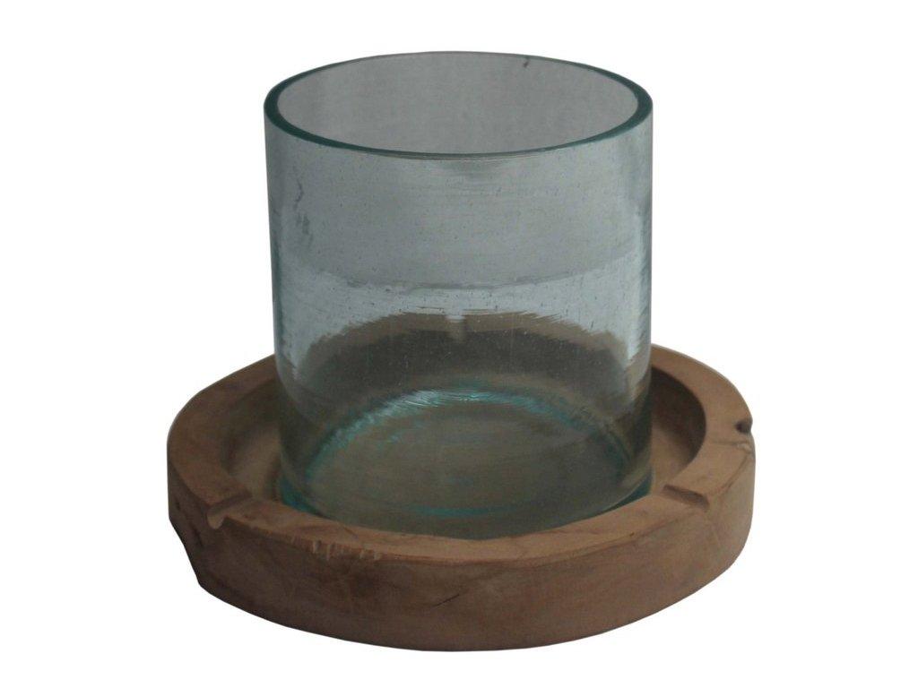 svícen - dřevo + sklo