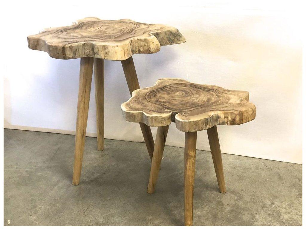 teakový stolek nepravidelná , 2 velikosti
