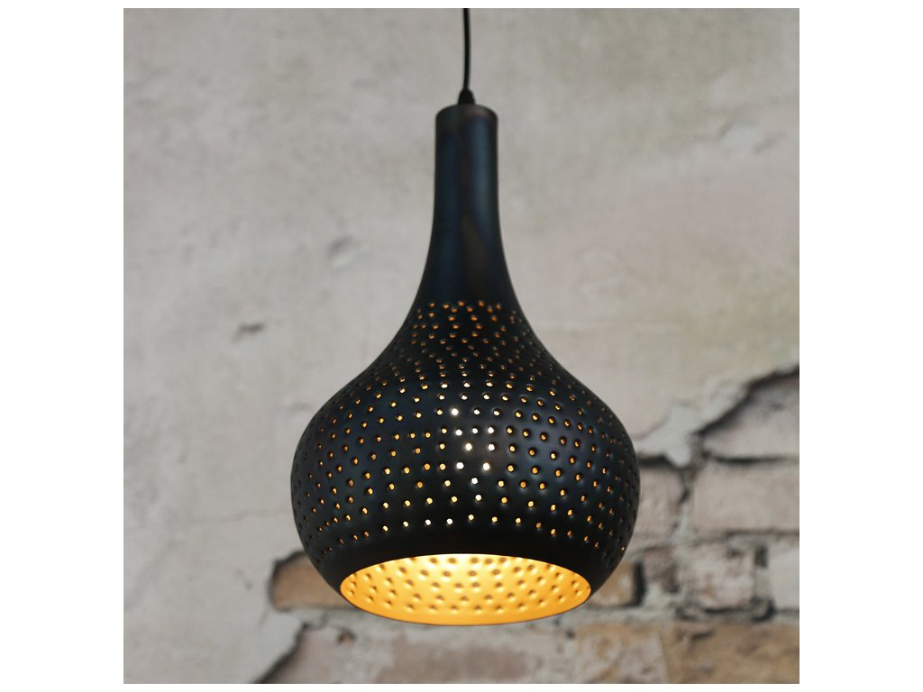 závěsná lampa; perforovaný kužel černohnědý