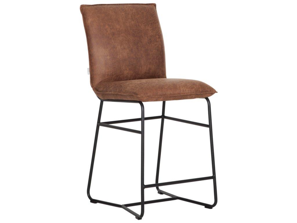 kožená barová židle RIVER - koňaková