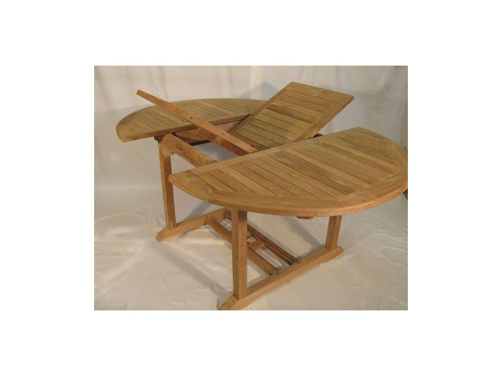 teakový stůl roztahovací dia 120-170 cm