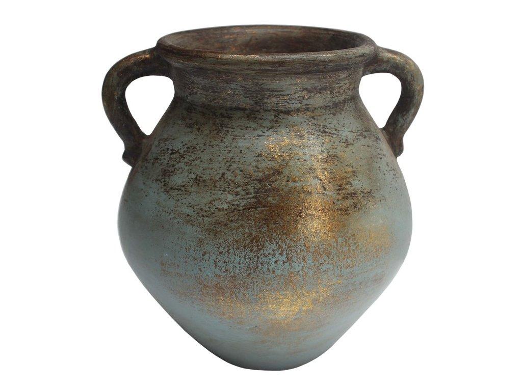 váza s ušima zlatavá