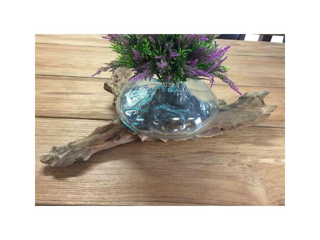 skleněná váza na naplaveném dřevě vel.M