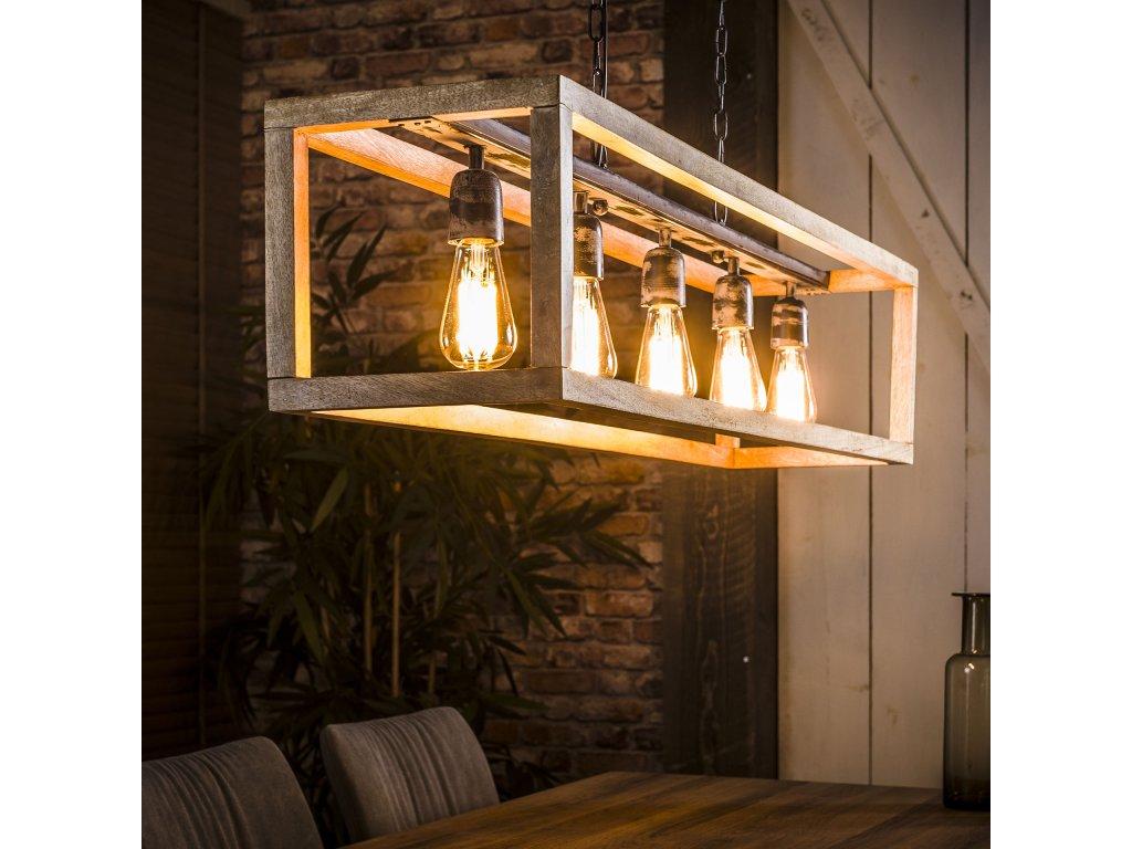 závěsná lampa obdélník 5 žárovek, dřevo mango