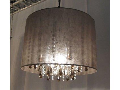 křišťálový lustr CIUFFO s látkovým kloboukem