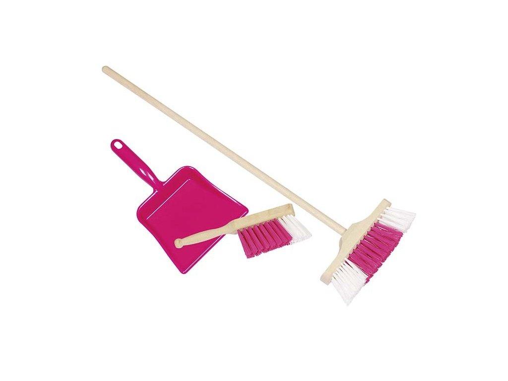 Dřevěný smeták, smetáček a lopatka - růžový