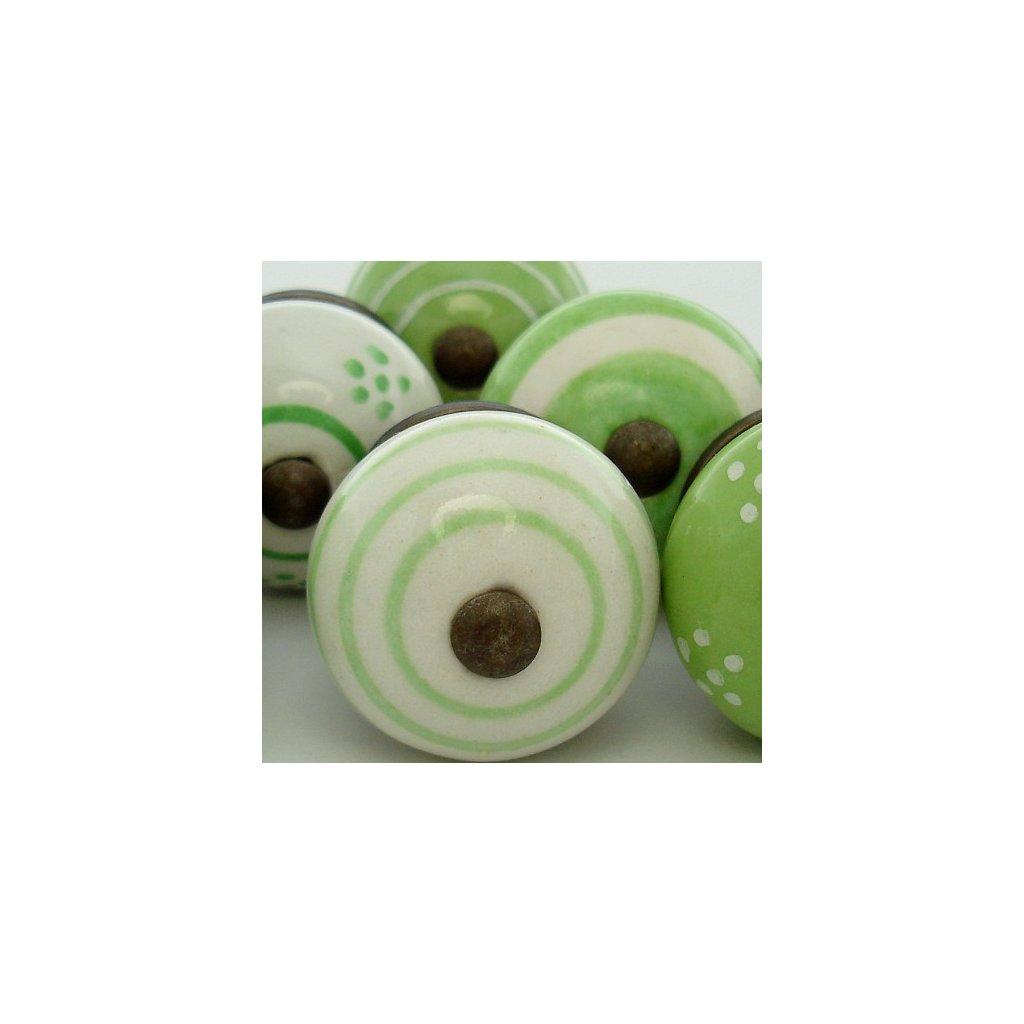 Výhodná sada 8 ks úchytek-Zelená a bílá