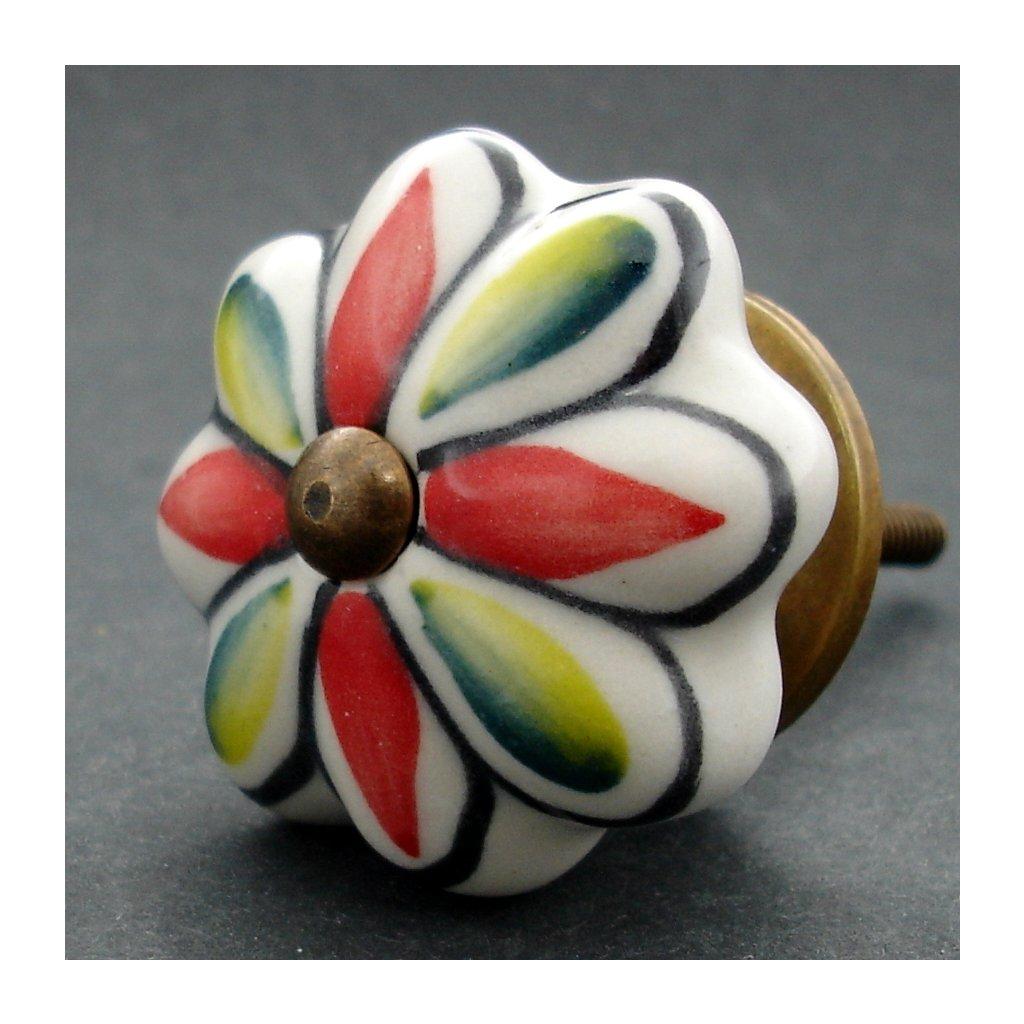 Keramická úchytka-Červenozelený květ