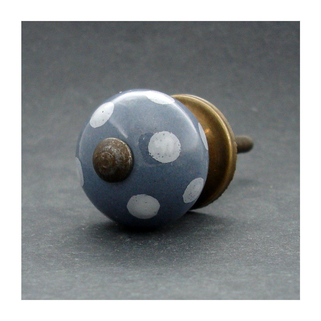 Keramická úchytka-Šedá s puntíkem