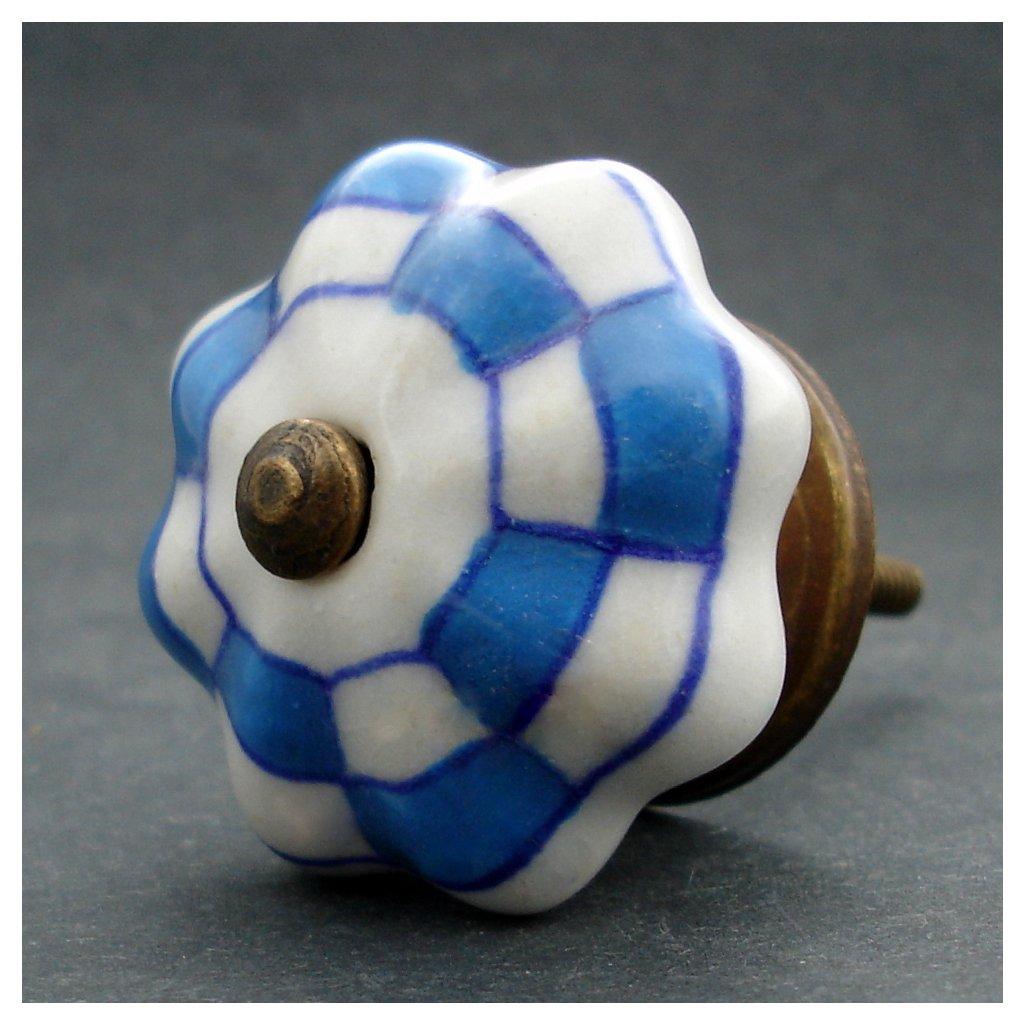 Keramická úchytka-Světle modrá kostička