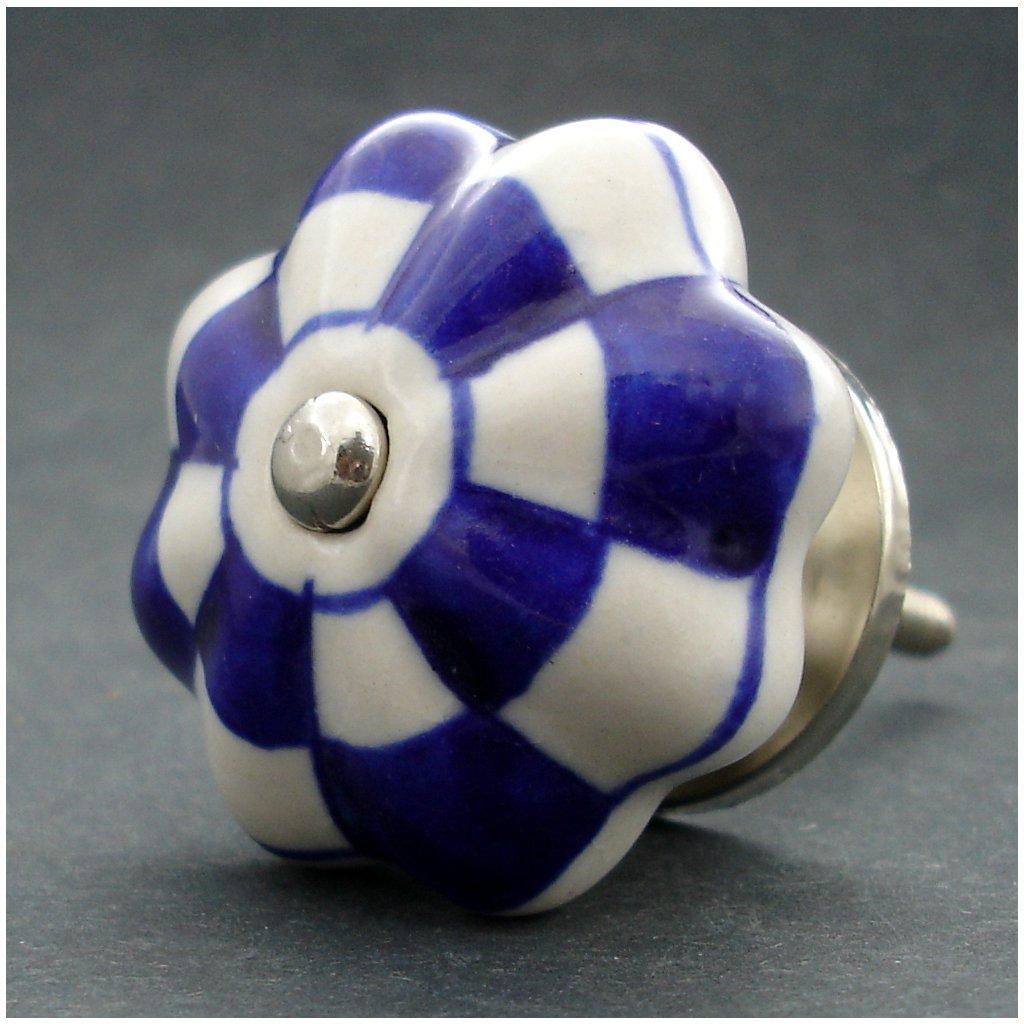 Keramická úchytka-Tmavě modrá kostička