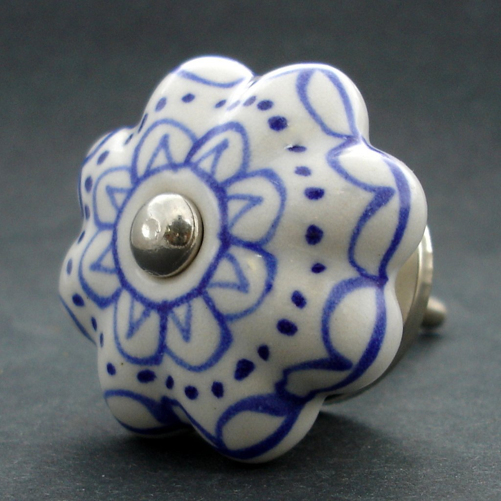 Keramická úchytka-Modrá krajka