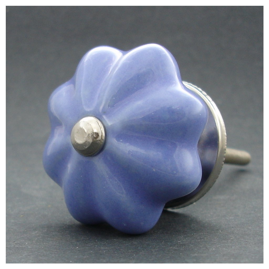 Keramická úchytka-Pastel modrý květ
