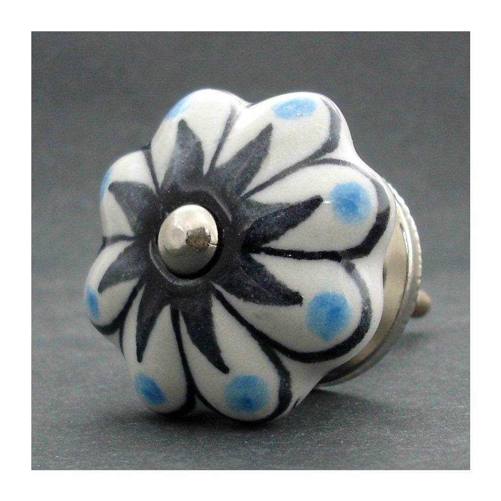 Keramická úchytka-Hvězda s modrými puntíky