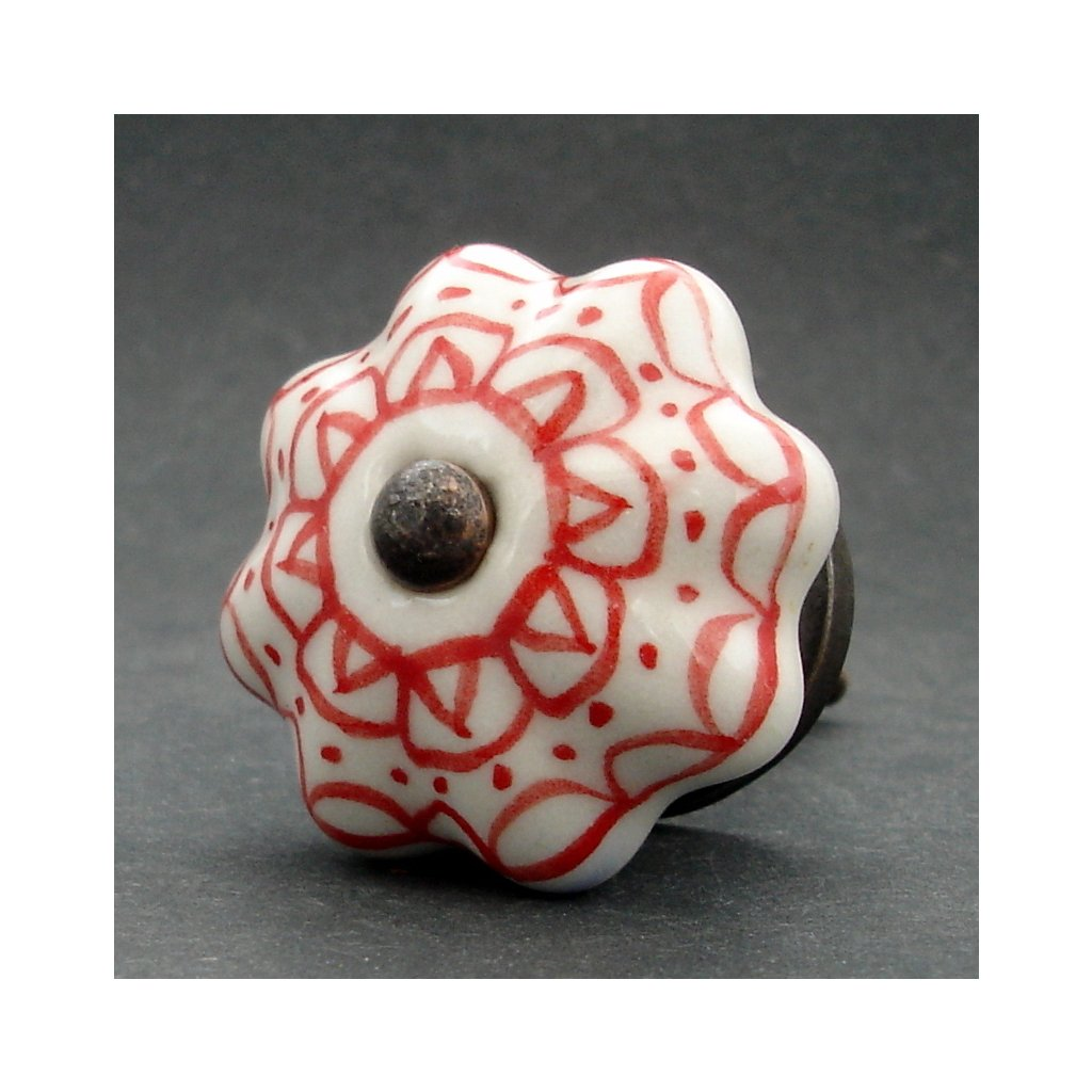 Keramická úchytka-Červená krajka