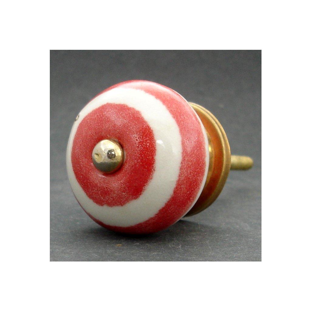 Keramická úchytka-Červené pruhy
