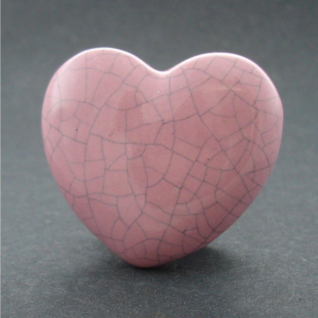 Keramický úchyt-Růžové srdíčko