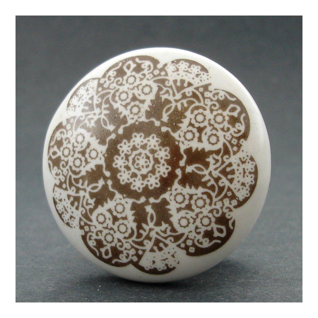 Keramická úchytka-Orient hnědý-POTISK