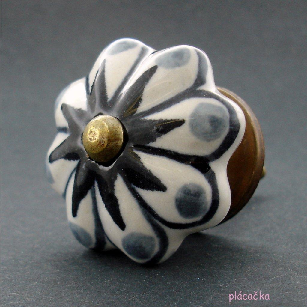 Keramická úchytka-Hvězda s šedými puntíky