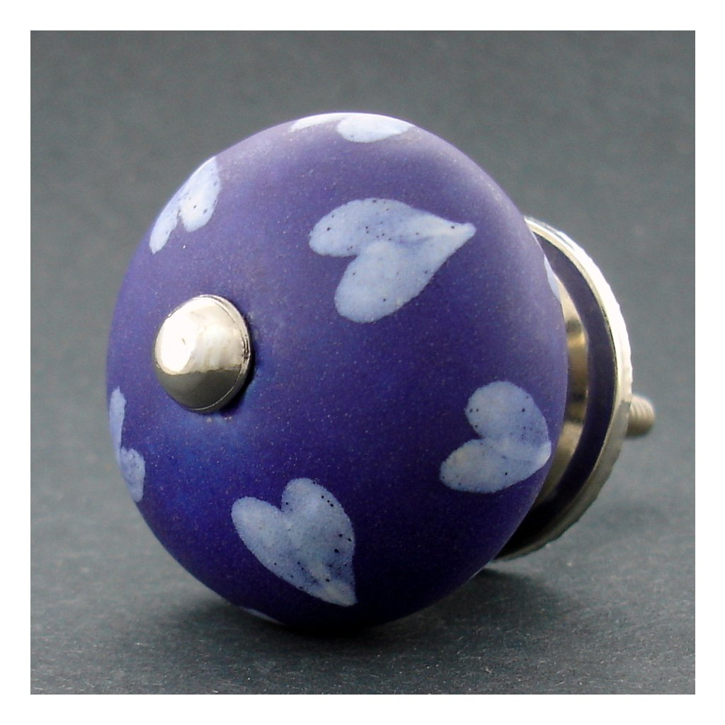 Keramická úchytka-Bílá srdíčka na modré-MAT