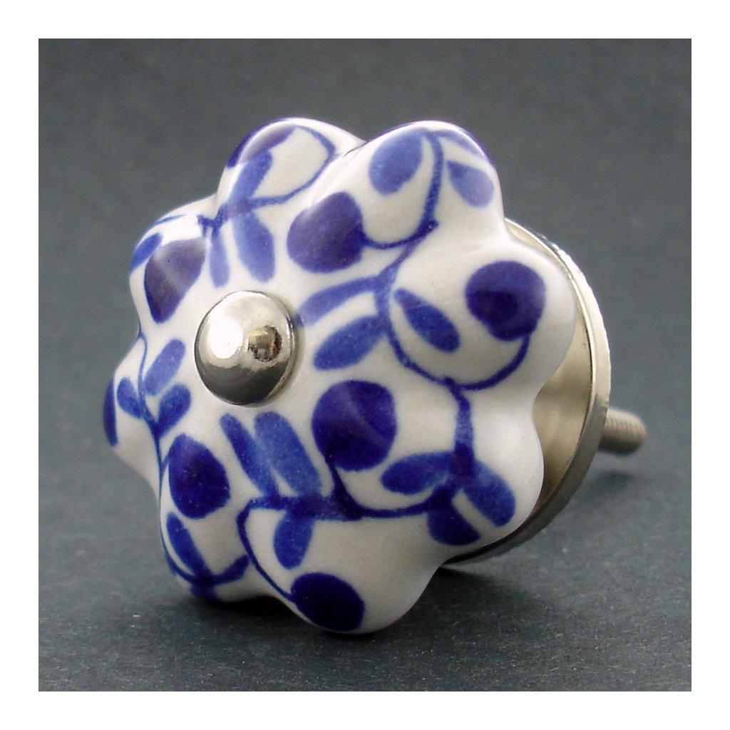 Keramická úchytka-Popínavky tmavě modré