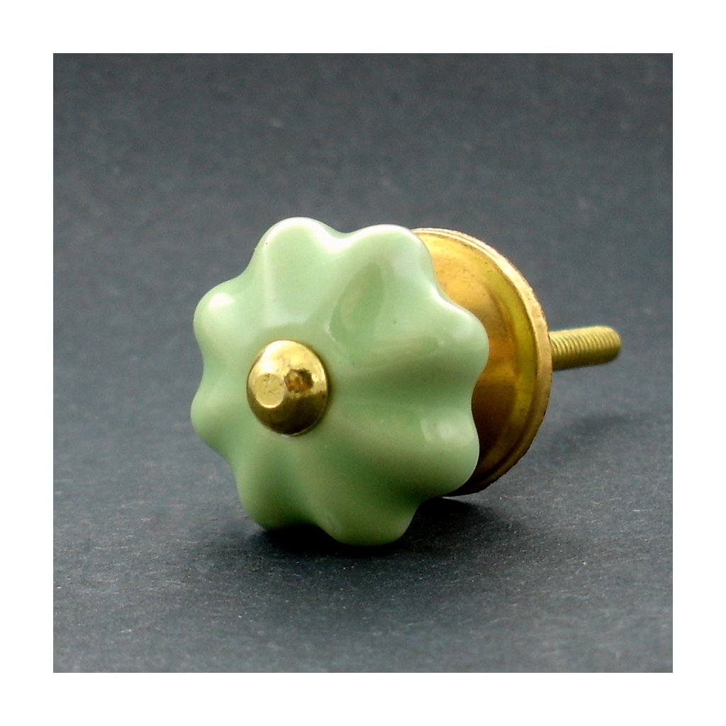 Keramická úchytka-Zelená kytička-MALINKÁ