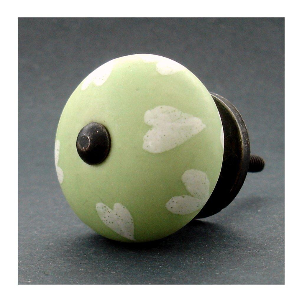 Keramická úchytka-Bílá srdíčka na šalvěji-MAT