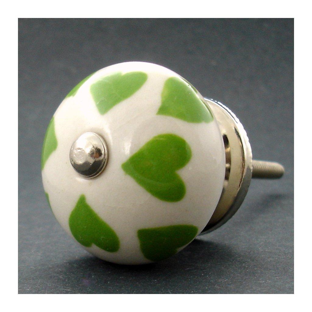 Keramická úchytka -Zelená srdíčka