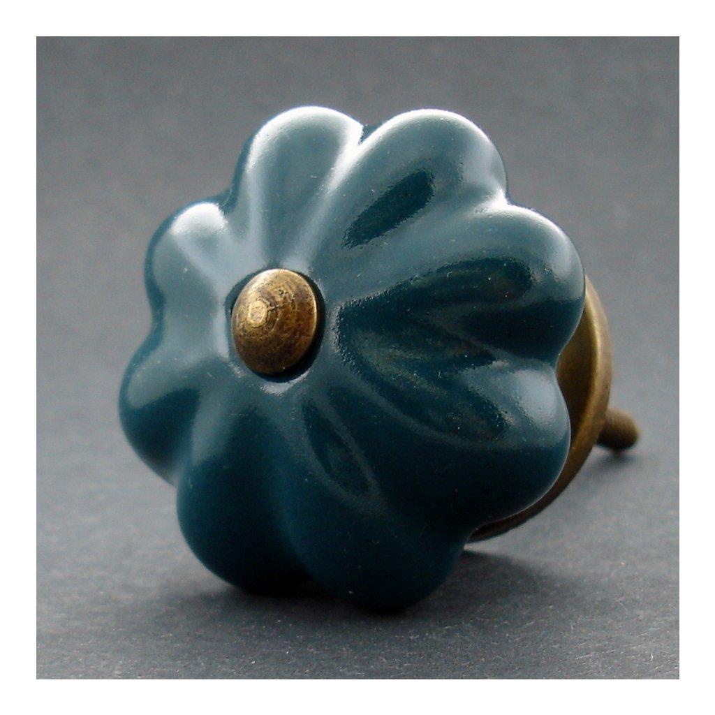 Keramická úchytka-Petrolejový květ