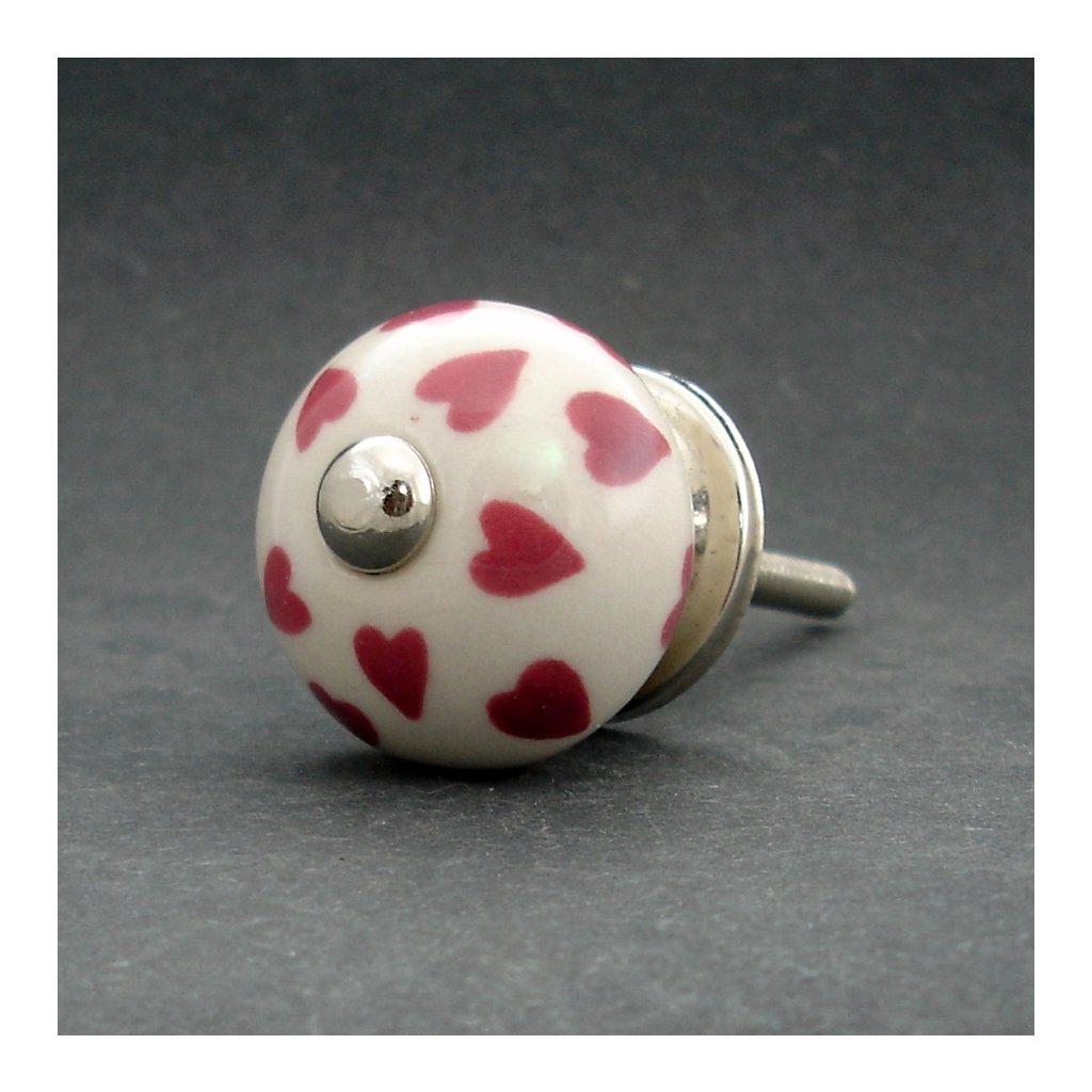 Keramická úchytka-Růžová srdíčka MALÁ
