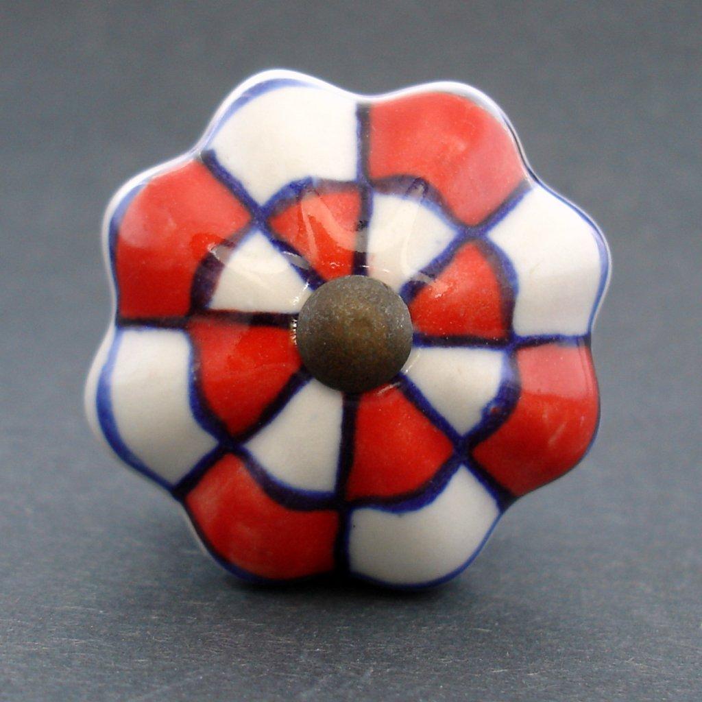 Keramická úchytka-Červená kostička