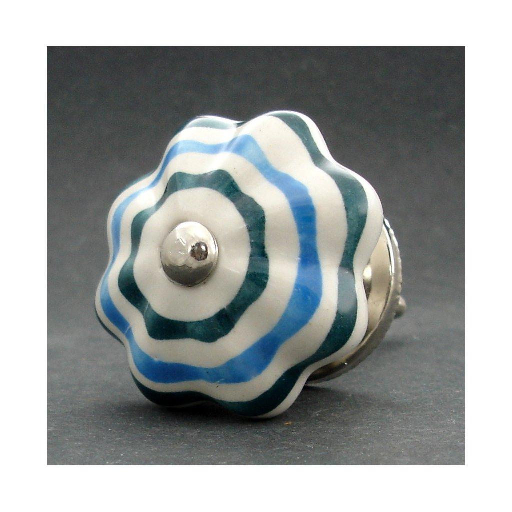 Keramická úchytka- Květ pruhovaný