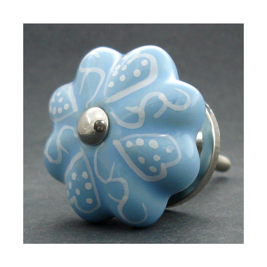 Keramická úchytka- Modrá s bílým vzorem