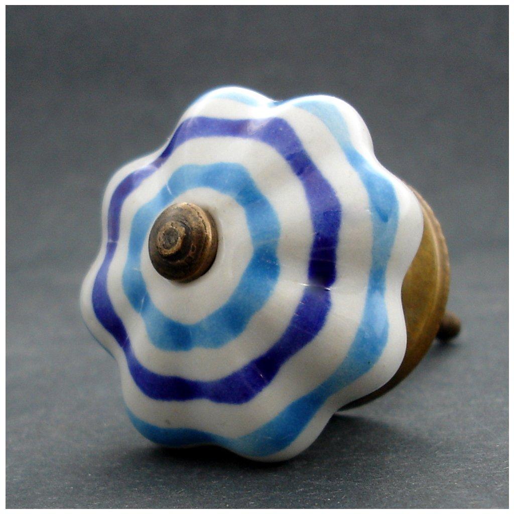 Keramická úchytka- Květ proužkatý