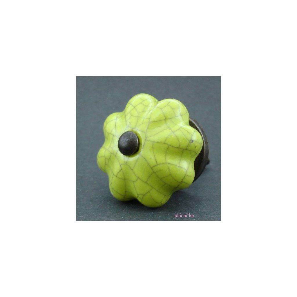 Keramická úchytka-Zelený květ crackle