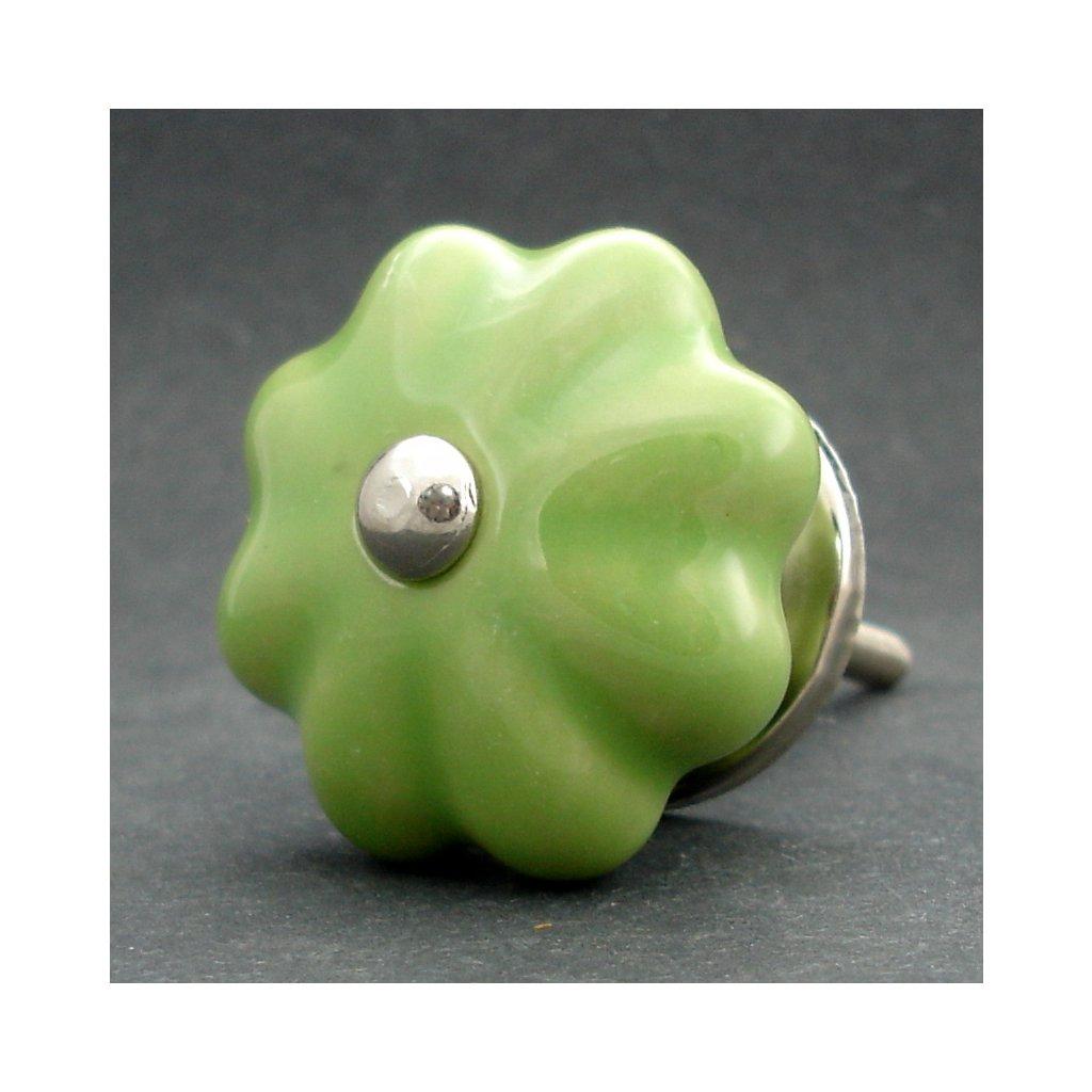 Keramická úchytka-Zelený květ