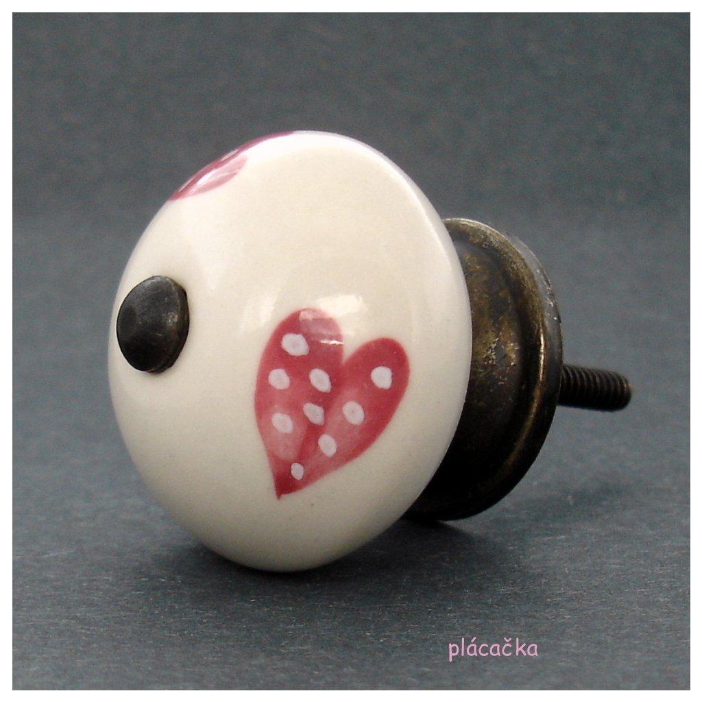 Keramická úchytka-Růžová srdíčka puntíkatá