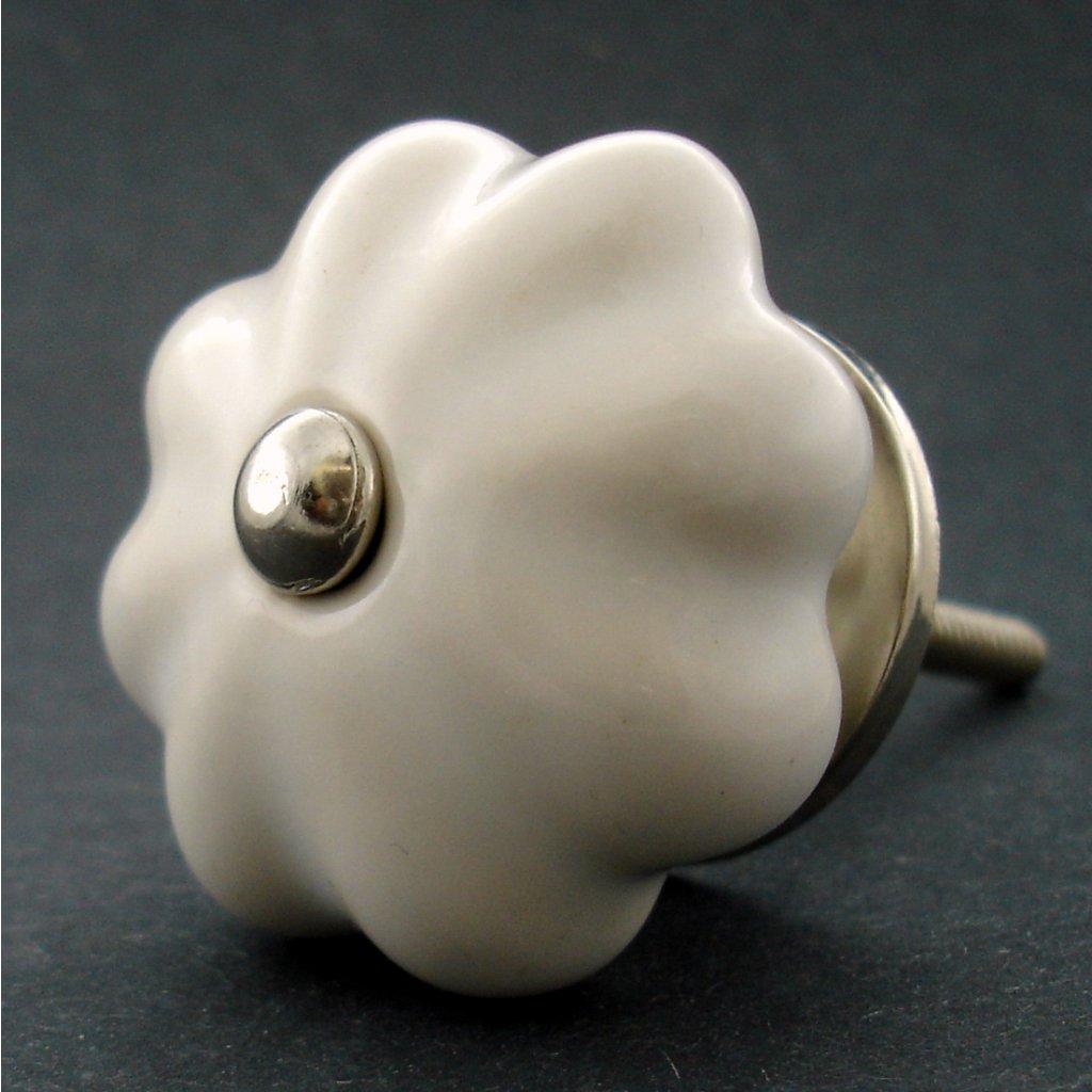 Keramická úchytka-Bílý květ STANDARD