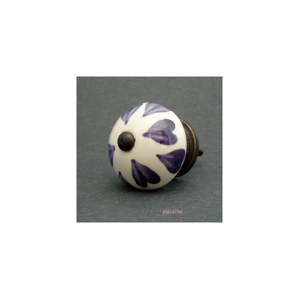 Keramická úchytka-Fialová srdíčka