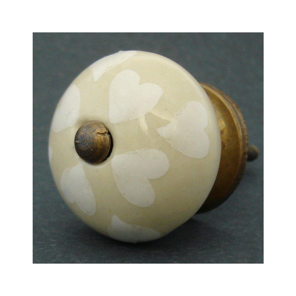 Keramická úchytka-Bílá srdíčka na krému
