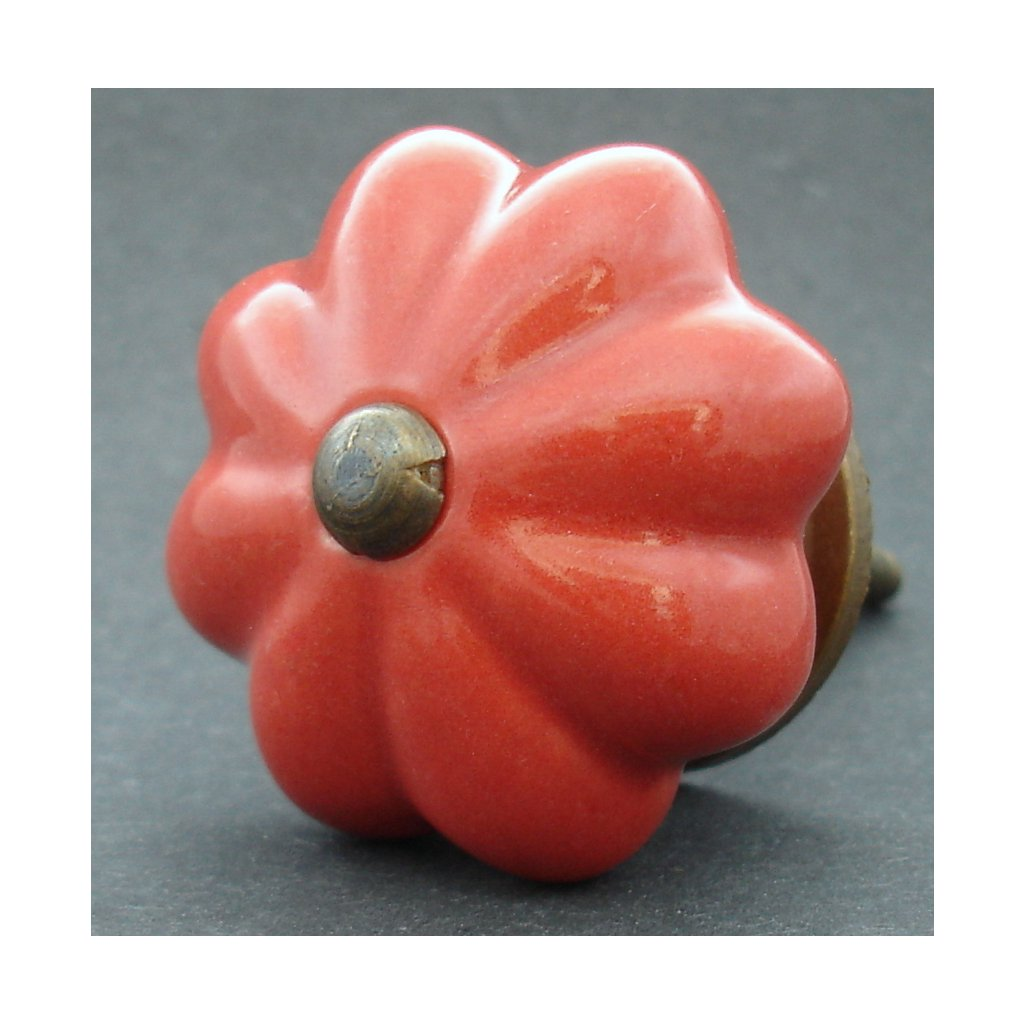 Keramická úchytka-Červený květ větší
