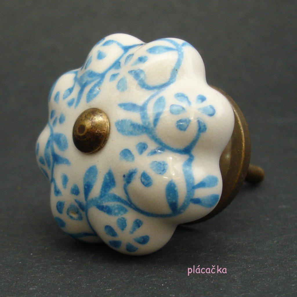 Keramická úchytka-Popínavky světle modré