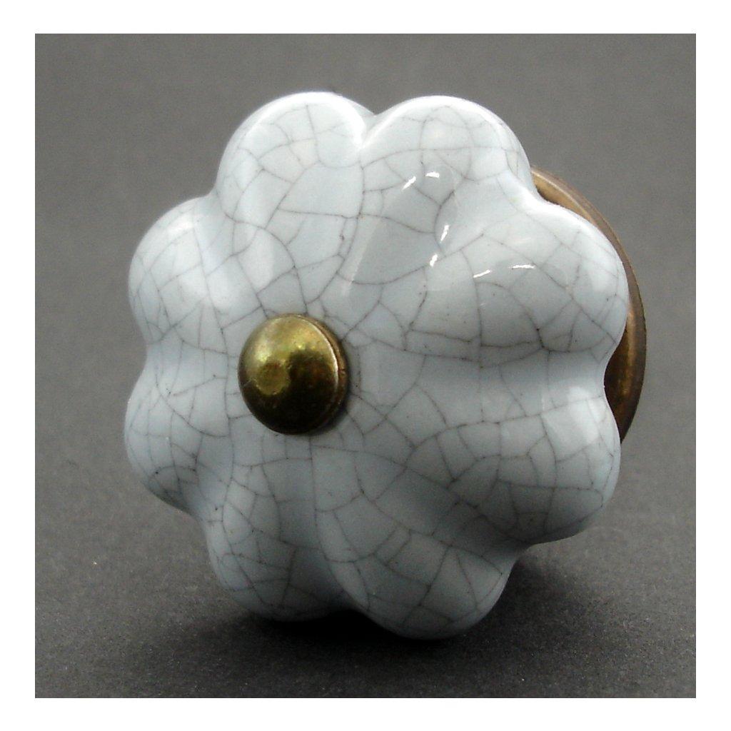 Keramická úchytka-Šedý květ světlý crackle